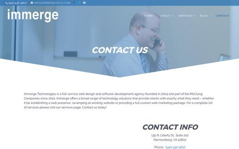 Screenshot of Contact Page immergetech.com - Contact Us | Web Development Company | Harrisonburg, VA - captured Oct. 14, 2017