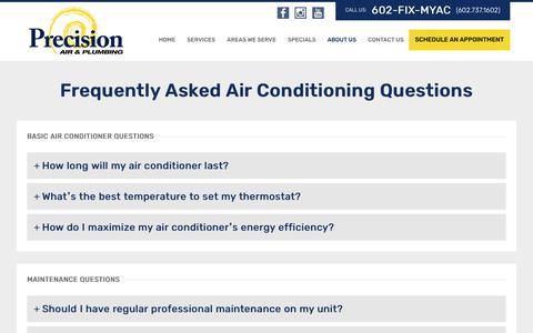 Screenshot of FAQ Page precisionairandheating.com - FAQ's | Precision Air & Heating - captured Nov. 16, 2019