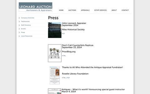 Screenshot of Press Page leonardauction.com - Leonard Auction in the News - captured Nov. 1, 2014