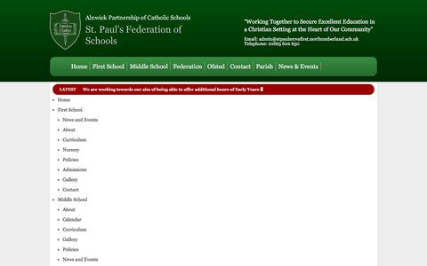 Screenshot of Site Map Page stpaulsalnwick.co.uk - Sitemap ::  St. Pauls Federation of Schools - captured June 9, 2016