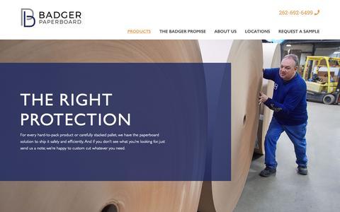 Screenshot of Products Page badgerpaperboard.com - Custom Paperboard Converting Products | Badger Paperboard - captured Dec. 18, 2018