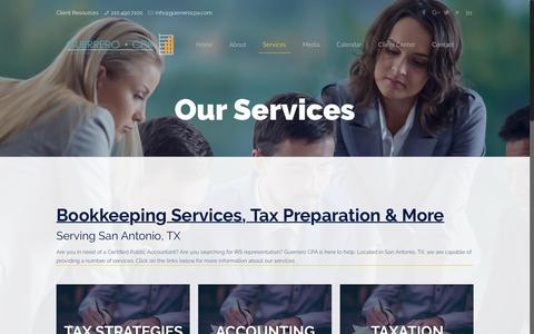 Screenshot of Services Page guerrerocpa.com - Our Services | Accounting & Bookkeeping Services San Antonio, TX - captured May 23, 2017