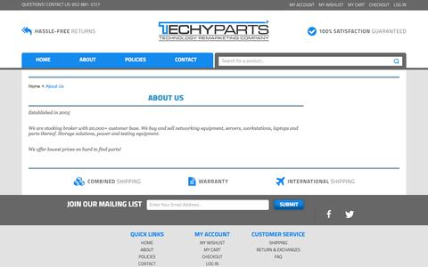 Screenshot of About Page techyparts.com - About Us - captured Sept. 20, 2018