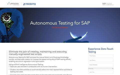 Screenshot of Landing Page panaya.com - Autonomous Testing for SAP: Webinar - captured June 21, 2017