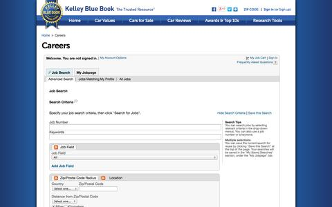 Screenshot of Jobs Page kbb.com - Careers - Search Job Openings - Kelley Blue Book - captured Oct. 23, 2014