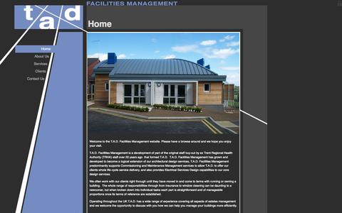 Screenshot of Home Page tadfm.co.uk - TAD Facilities Management : Home - captured Oct. 7, 2014