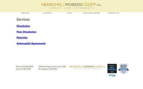 Screenshot of Services Page henschelmoberg.com - Services - captured Oct. 2, 2014