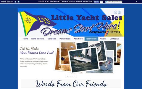 Screenshot of Testimonials Page littleyachtsales.com - Little Yacht Sales » Testimonials - captured Sept. 30, 2014
