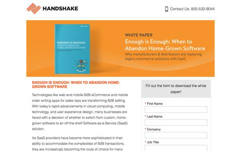 Screenshot of Landing Page handshake.com captured Aug. 19, 2016