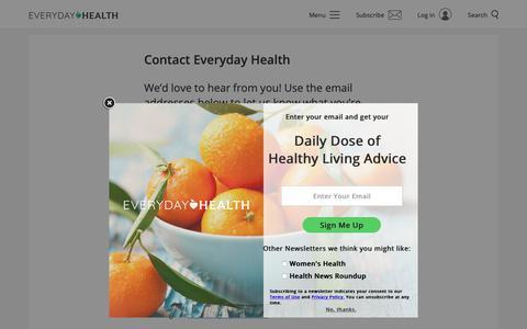 Screenshot of Contact Page everydayhealth.com - Contact Everyday Health | Everyday Health - captured March 16, 2019