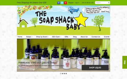 Screenshot of Home Page thesoapshackbaby.com - Handmade Soap | Natural Skin Care | Gifts | Lip Balm | Body Scrubs – The Soap Shack Baby - captured Oct. 9, 2014