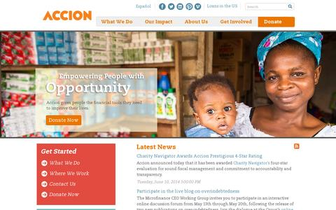 Screenshot of Home Page accion.org - Accion   Investing in individuals. Improving our world. - captured July 12, 2014
