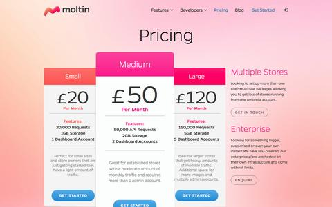 Screenshot of Pricing Page molt.in - Pricing   Moltin - captured Sept. 23, 2014