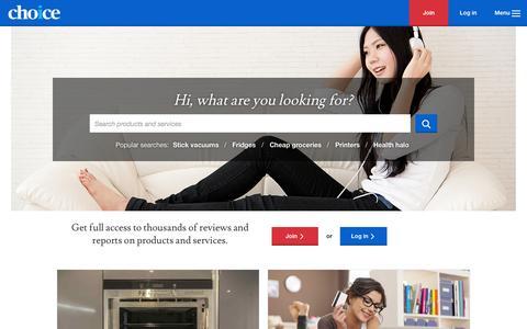 Screenshot of Home Page choice.com.au - Australia's leading consumer advocacy group - CHOICE - captured June 16, 2015