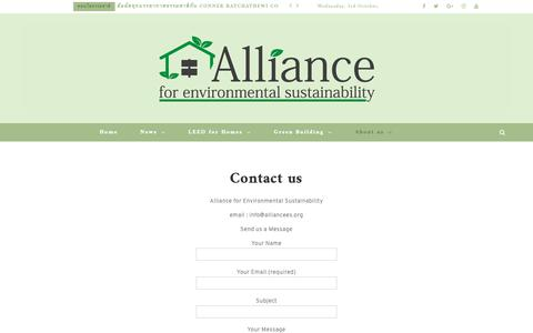 Screenshot of Contact Page alliancees.org - Contact us - Alliance Organization for Environmental Sustainability - captured Oct. 3, 2018