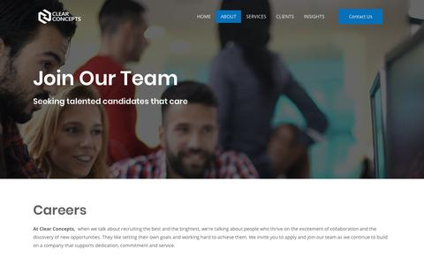Screenshot of Jobs Page clearconcepts.ca - Careers   Clear Concepts   Winnipeg Managed IT Services - captured July 18, 2018
