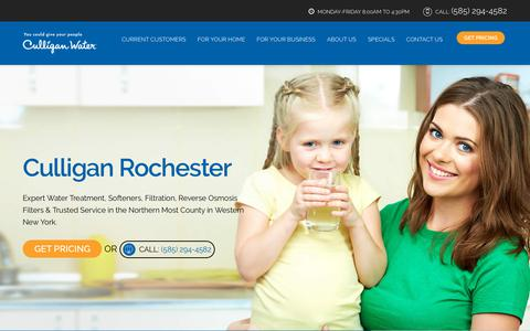 Screenshot of Home Page culliganrochester.com - Culligan Rochester — Water Treatment in Rochester, Brighton, Greece, Gates, Webster, Penfield NY - captured Aug. 15, 2019