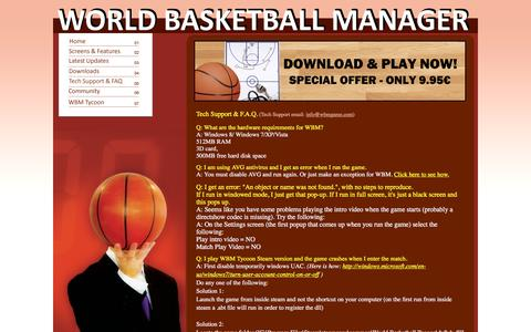 Screenshot of FAQ Page wbmgame.com - World Basketball Manager - captured March 12, 2016