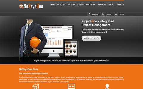 Screenshot of Home Page nexsysone.com - NeXsysOne | Telecom Project Management Tool - captured Oct. 6, 2014