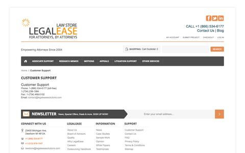 Screenshot of Support Page legaleasesolutions.com - Customer Support - captured Oct. 10, 2014