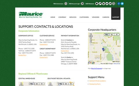 Screenshot of Support Page maurice.net - Support: Contacts & Locations | Maurice Sporting Goods - captured Oct. 27, 2014