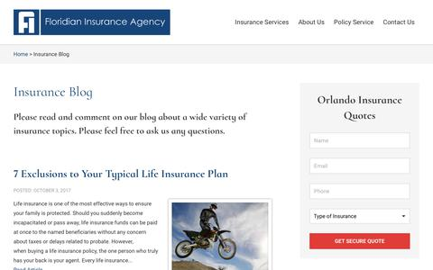 Screenshot of Blog floridianinsurance.com - Floridian Insurance Agency Blog - captured Oct. 14, 2017