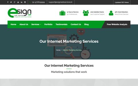 Screenshot of Services Page esignwebservices.in - Internet Marketing Services, SEO Company India | eSign Web Services - captured Dec. 8, 2018