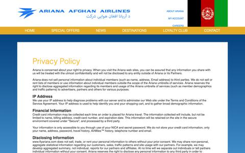 Screenshot of Privacy Page flyariana.com - Privacy Policy - captured Oct. 4, 2018