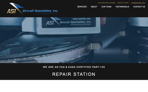 Screenshot of About Page Contact Page Services Page Team Page Testimonials Page asibrake.com - Aircraft Specialties, Inc. - captured Oct. 3, 2018