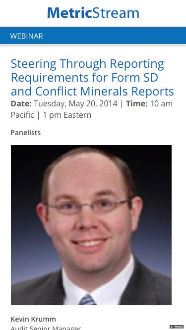 WEBINAR: Steering Through Reporting Requirements for Form SD and Conflict Minerals Reports