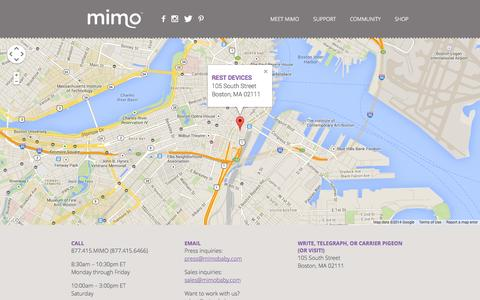 Screenshot of Contact Page mimobaby.com - Mimo - The Smart Baby Monitor - captured Sept. 17, 2014