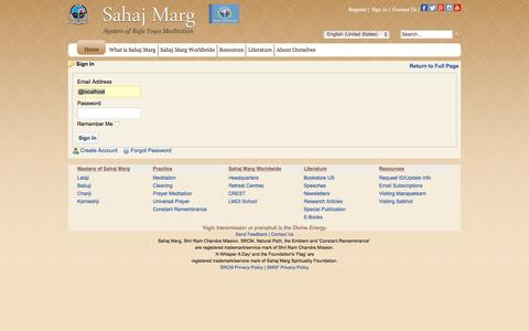 Screenshot of Login Page sahajmarg.org - Sahaj Marg Raja Yoga Meditation - Contact Us - captured Dec. 24, 2016