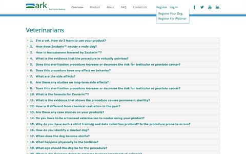 Screenshot of FAQ Page arksciences.com - Veterinarians, Clinics, Shelters & Dog Owner FAQ's - Ark Sciences - captured Oct. 4, 2014