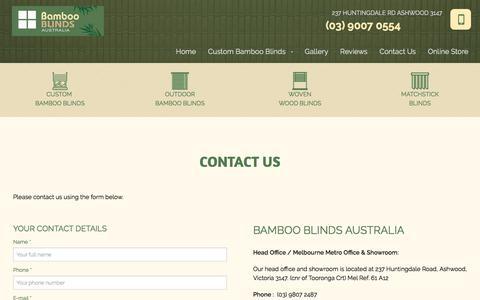 Screenshot of Contact Page bambooblinds.com.au - Contact Us - Australia | Bamboo Blinds Australia - captured July 10, 2018