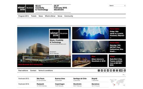 Screenshot of Home Page sonarstockholm.com - Sónar Stockholm 26.27 February 2016 :: 2016 :: Music, Creativity & Technology - captured Aug. 3, 2015