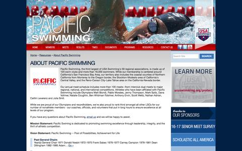 Screenshot of About Page pacswim.org - About Us   Pacific Swimming Association - captured Jan. 5, 2017