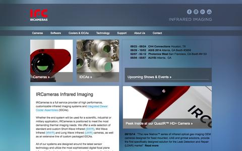 Screenshot of Home Page ircameras.com - Thermographic Camera, SWIR, LWIR, IR, InGaAs | IRCameras Infrared Imaging - captured Sept. 30, 2014