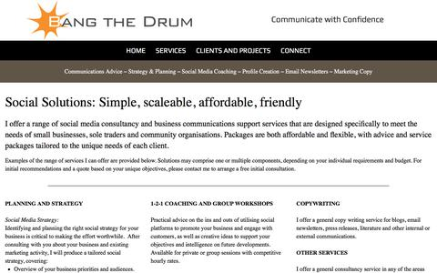 Screenshot of Services Page bangthedrumconsulting.co.uk - Bang the Drum: Services - captured Aug. 1, 2018