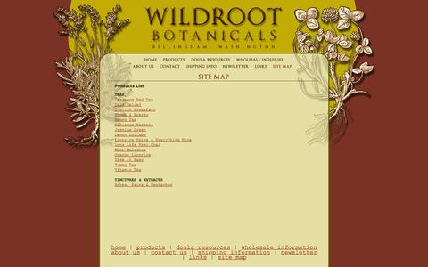 Screenshot of Site Map Page wildrootbotanicals.com - Wildroot Botanicals, Bellingham, WA : Site Map - captured Oct. 7, 2014
