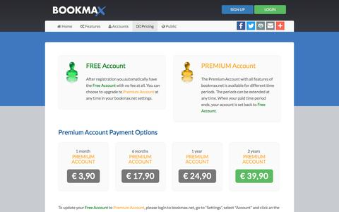 Screenshot of Pricing Page bookmax.net - Bookmax - Online Bookmark Manager - captured June 20, 2017