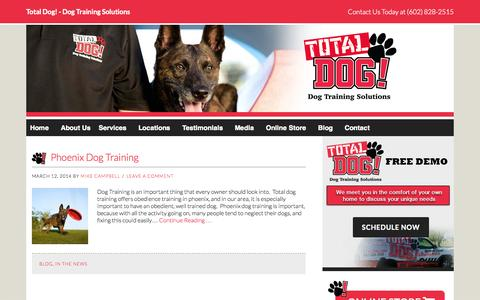Screenshot of Press Page totaldog.com - In The News Archives - Total Dog Training Solutions - captured Oct. 26, 2014
