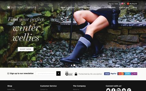 Screenshot of Home Page butterflytwists.com - Ballet Shoes, Ballet Pumps & Wellies That Fold | Butterfly Twists - captured Jan. 7, 2016