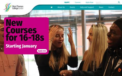 Screenshot of Home Page west-thames.ac.uk - West Thames College - Further and Higher Education Courses - captured Nov. 7, 2017