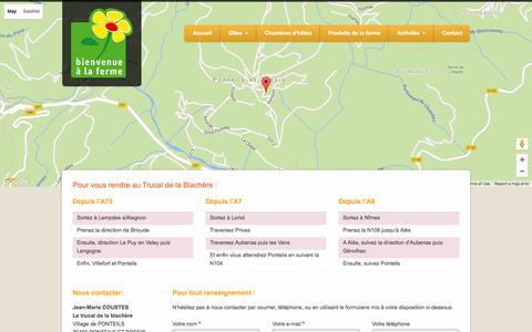 Screenshot of Contact Page gard-cevennes-vacances.com - Gîte gard cévennesÃ Ponteils, vacances en Cévennes - captured June 2, 2016