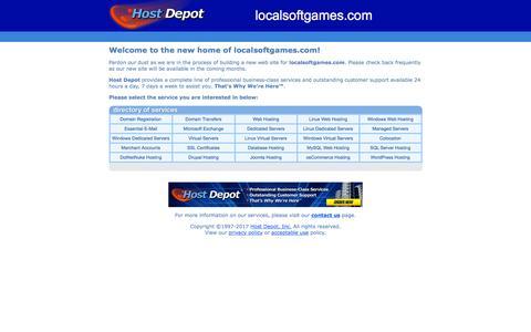 Screenshot of Home Page localsoftgames.com - Host Depot - Domain Names, Web Hosting, E-Mail, Microsoft Exchange, Dedicated Servers, Virtual Servers - captured Jan. 28, 2017