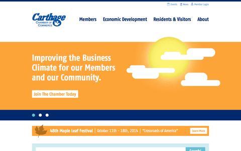Screenshot of Home Page carthagechamber.com - Carthage Chamber of Commerce - captured Oct. 2, 2014