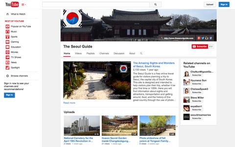 Screenshot of YouTube Page youtube.com - The Seoul Guide  - YouTube - captured Oct. 31, 2014