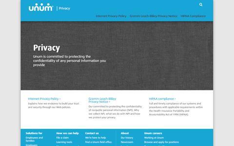 Screenshot of Privacy Page unum.com - Privacy - captured Sept. 23, 2014
