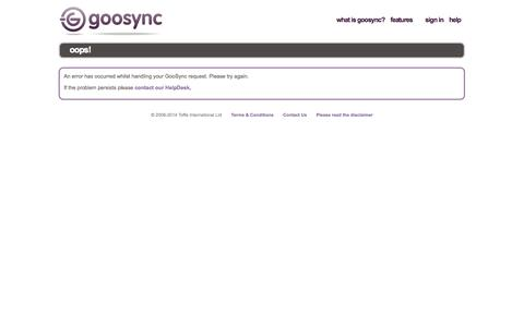 Screenshot of Trial Page goosync.com - Select Device - captured Sept. 30, 2014