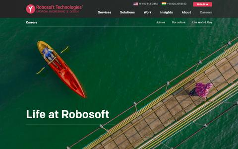 Screenshot of Jobs Page robosoftin.com - Careers and Current Openings | Robosoft Technologies - captured Oct. 18, 2018